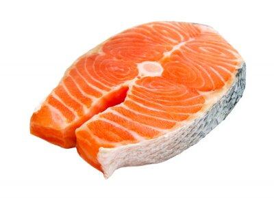 Наклейка стейк из лосося на белом фоне