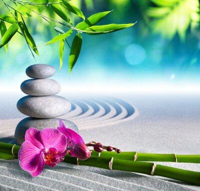 Наклейка песок, орхидеи и массаж камнями в дзен сад