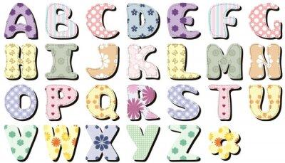 Наклейка записках алфавит на белом фоне
