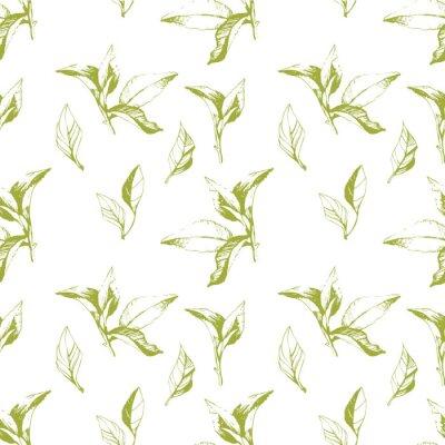 Наклейка Бесшовные фон из листьев. Эскиз стиль.