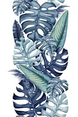 Наклейка Seamless Border of Watercolor Monstera and Banana Leaves