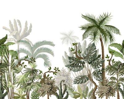 Наклейка Seamless border with tropical tree such as palm, banana, monstera. Vector.