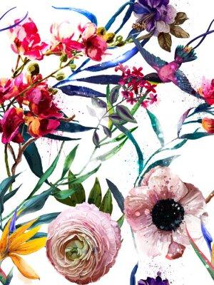 Наклейка бесшовный экзотический цветочный узор