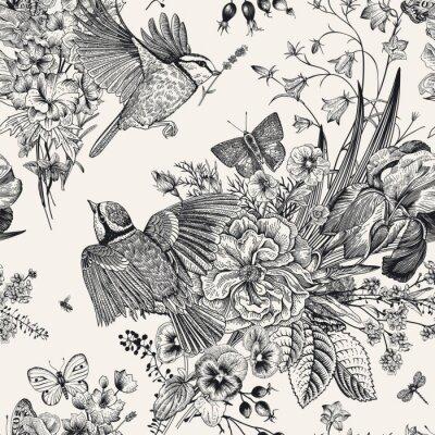 Наклейка Бесшовный цветочный узор Векторные винтажные ботанические иллюстрации.