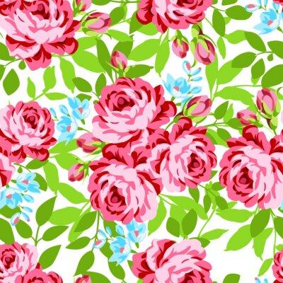 Наклейка Бесшовные цветочный узор с розовыми розами сад