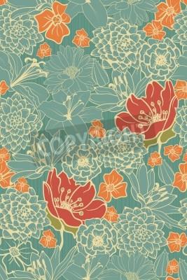 Наклейка Бесшовные цветочный узор с красными цветами на монохромный фон