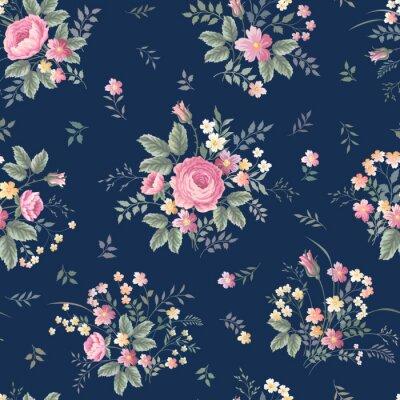 Наклейка бесшовные цветочный узор с розовым букетом ondark синем фоне