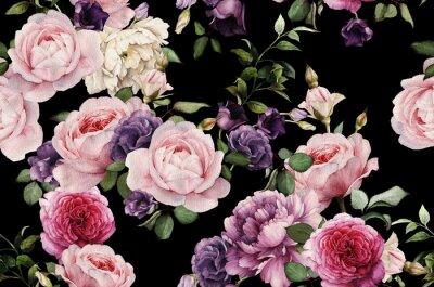 Наклейка Бесшовный цветочный узор с розами, акварель