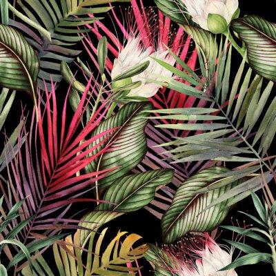 Наклейка Бесшовный цветочный узор с тропическими цветами