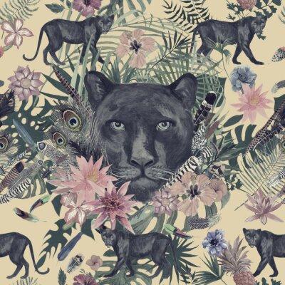 Наклейка Бесшовные ручной рисунок акварелью с пантера, цветы, перья, цветы.