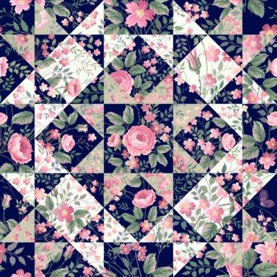 Наклейка бесшовные модели лоскутное с розами