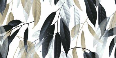 Наклейка Бесшовные, черные, золотые и белые длинные листья на светло-сером фоне