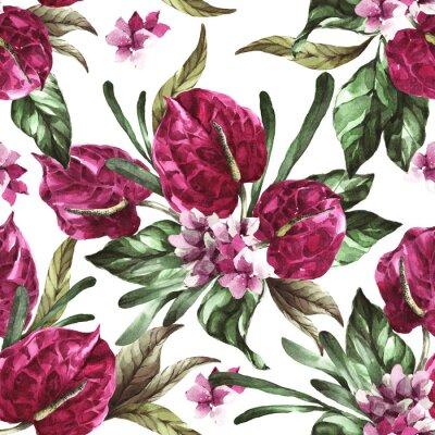 Наклейка seamless pattern burgundy flowers