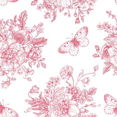 Наклейка Бесшовные цветы и бабочки.