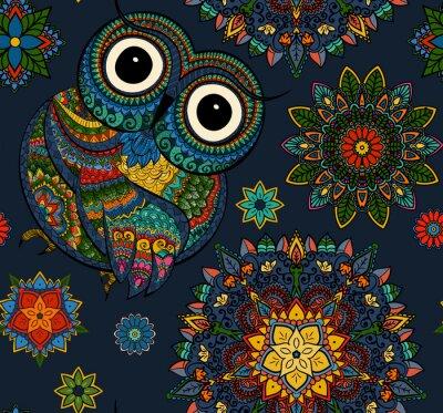 Наклейка Бесшовные с декоративной цветной сова с цветами и мандалы. Африканской, индийской, тотем, дизайн татуировки. Он может быть использован для дизайна футболки, сумки, открытки, плакат и так далее.