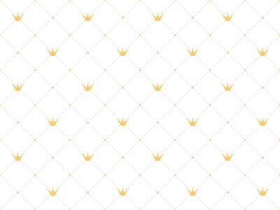 Наклейка Бесшовные шаблон в стиле ретро с золотой короной и розовые горошек на белом фоне. Симпатичные обои для маленьких принцесс.