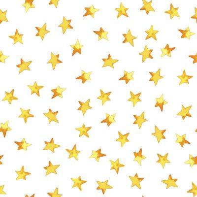 Наклейка Бесшовные шаблон ручной рисунок желтые простые звезды в мультфильм детский стиль на белом фоне