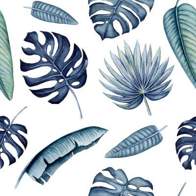 Наклейка Seamless Pattern of Watercolor Tropical Leaves