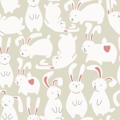 Наклейка Бесшовные с симпатичными белых кроликов