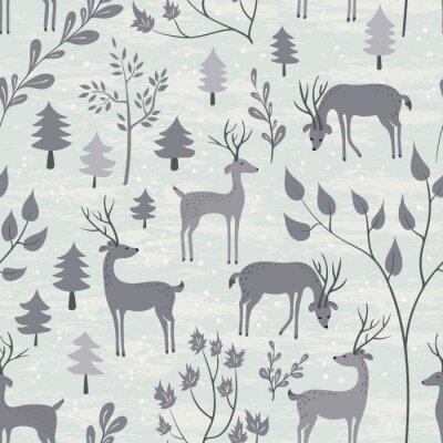 Наклейка Бесшовные с оленей в зимнем лесу