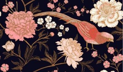 Наклейка Бесшовный фон с экзотическими птицами-фазанами и цветами пиона.