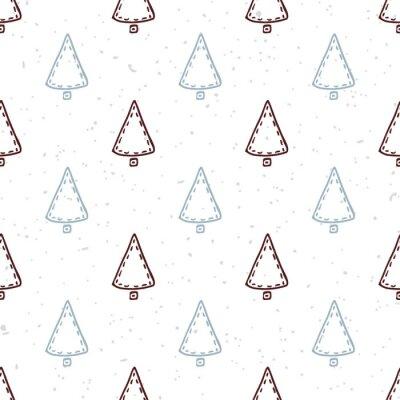 Наклейка Бесшовные с рисованной елки. Doodle фон праздник
