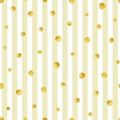 Наклейка Бесшовные с ручной росписью золотых кругов. Золотой полька точка узор