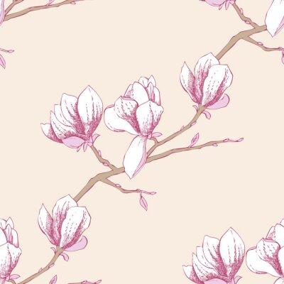 Наклейка Бесшовные шаблон с magnolia_3-03