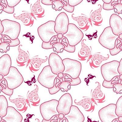 Наклейка Бесшовные с розовой пунктирной моли Орхидея или фаленопсис и богато бабочек на белом фоне. Цветочный фон в стиле dotwork.