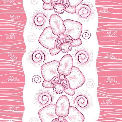 Наклейка Бесшовные с розовой пунктирной моли Орхидея или фаленопсис и сучки на белом фоне. Цветочный фон в стиле dotwork.
