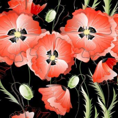 Наклейка Бесшовные шаблон с красными цветами мака