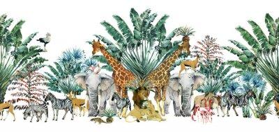 Наклейка seamless pattern with safari animals and palm trees.Tropical vintage botanical island banner. Exotic jungle border.