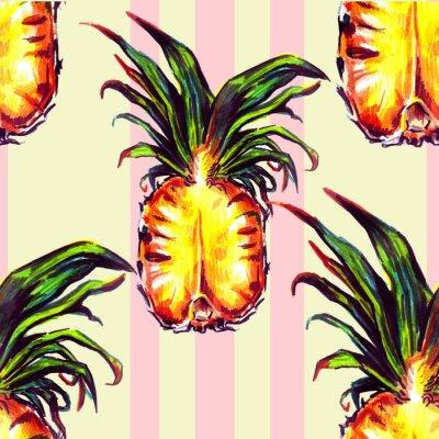 Наклейка Бесшовные с тропическими растениями и фруктами