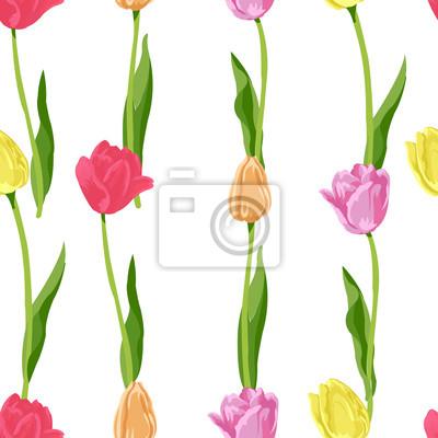Наклейка бесшовный цветочный узор из тюльпанов