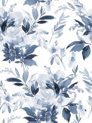 Наклейка Бесшовный летний образец с акварельными цветами ручной работы.