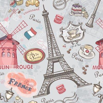 Наклейка Бесшовные текстуры с изображением достопримечательностей Парижа