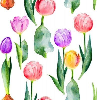 Наклейка бесшовный фон из тюльпанов на белом фоне