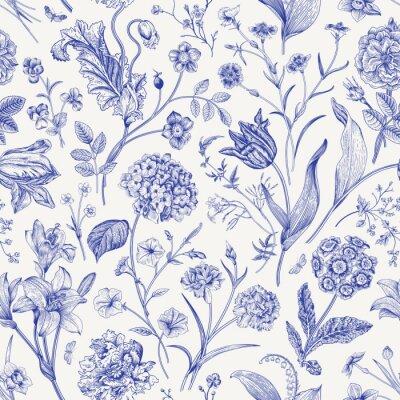 Наклейка Seamless vector floral pattern. Classic illustration. Toile de Jouy