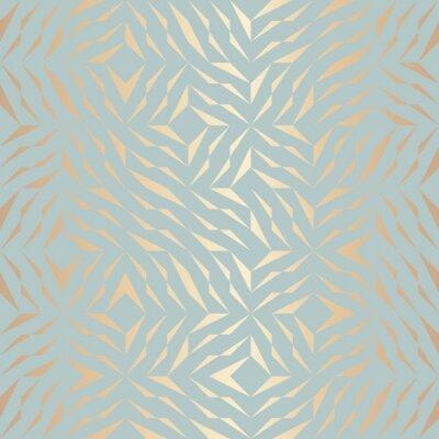 Наклейка Бесшовные Векторные геометрические шаблон золотой элемент. Абстрактный фон медной текстуры на синем зеленом фоне. Простая минималистическая графическая печать. Современная бирюзовая решетчатая сетка.