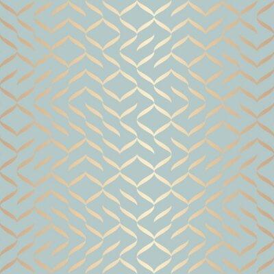 Наклейка Бесшовные вектор геометрический золотой элемент шаблона. Абстрактная текстура меди предпосылки на голубом зеленом цвете. Простой минималистичный графический принт. Современная бирюзовая решетчатая сет