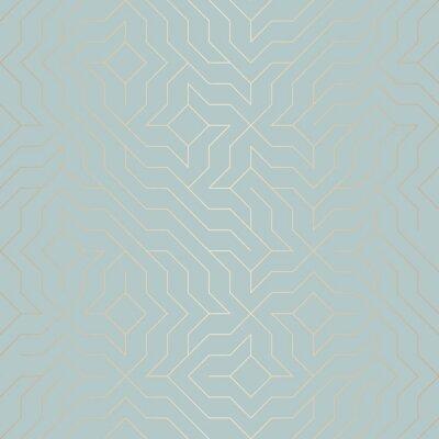 Наклейка Бесшовные Векторные геометрические линии золотой линии. Абстрактный фон медной текстуры на синем зеленом фоне. Простая минималистическая графическая печать. Современная бирюзовая решетчатая сетка. Мод