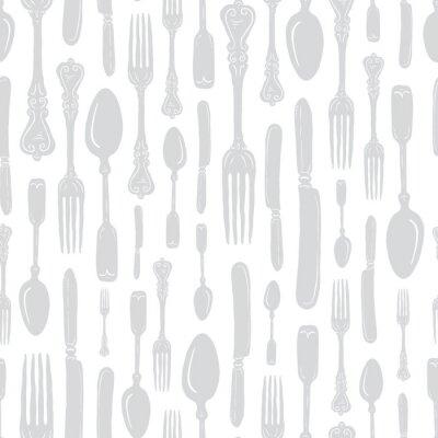 Наклейка Seamless Vintage Heirloom Silverware - Fork, Spoon, Knife - Vector Repeat Pattern in Subtle Gray on Light Background