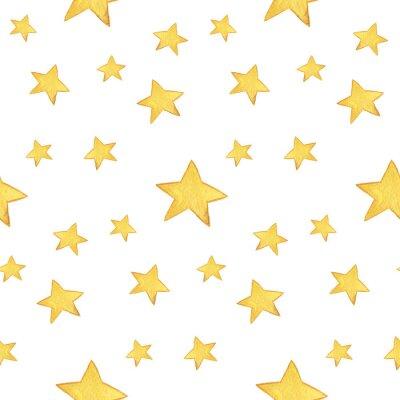 Наклейка Бесшовные акварель: С Рождеством, желтые звезды