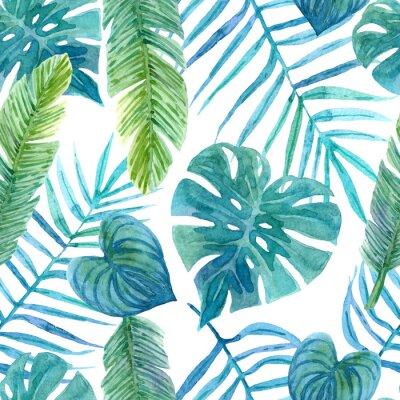 Наклейка Seamless watercolor pattern of tropical leaves