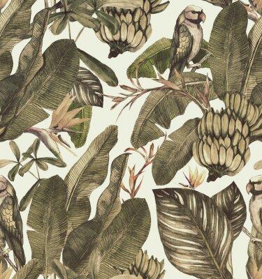 Наклейка Бесшовные акварель с гибискуса, пальмовых листьев, ветвь стрелиции, калатея. Тропик старинный фон