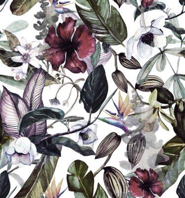 Наклейка Бесшовный акварельный рисунок с тропическими цветами, магнолия, оранжевый цветок, ванильная орхидея, тропические листья, листья банана