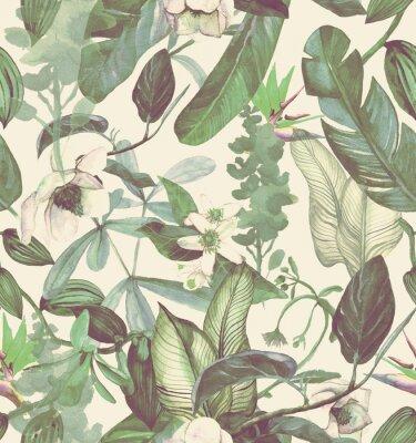 Наклейка Бесшовные акварель с тропическими цветами, магнолия, оранжевый цветок, ванильная орхидея, тропические листья, банановые листья