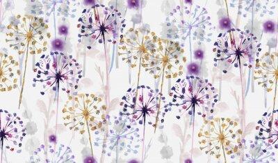 Наклейка Бесшовные Акварель дикий цветочный узор в стиле ручной росписи, нежные цветочные обои