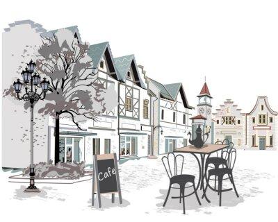 Наклейка Серия уличных кафе в старом городе