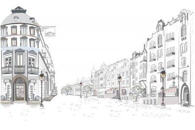 Наклейка Серия уличных просмотров в старом городе. Рисованной векторный архитектурный фон с историческими зданиями.